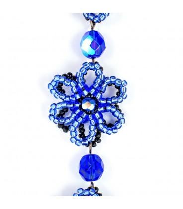 Korálky Janka náramek modročerná květina