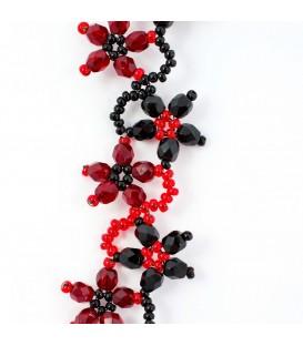 Korálky Janka náramek červenočerné květinky