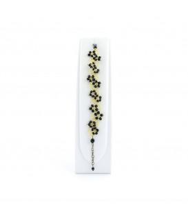 Korálky Janka náramek zlatočerné květinky