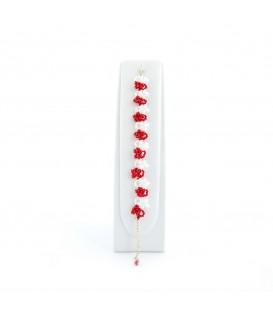 Korálky Janka náramek červenobílé květinky