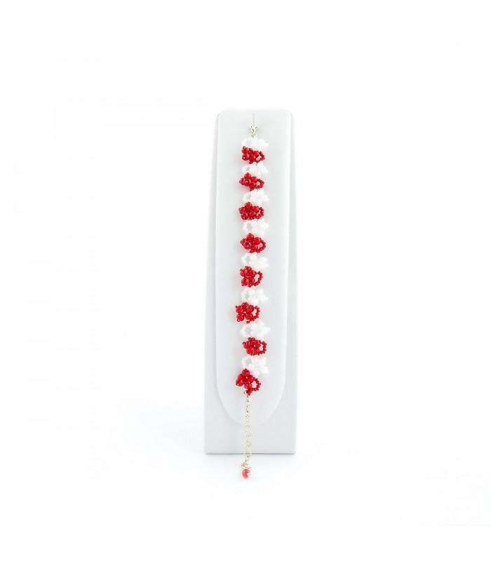 Souprava šperků Korálky Janka červený plesový náhrdelník s naušnicemi SP108, Délka náhrdelníku 42cm