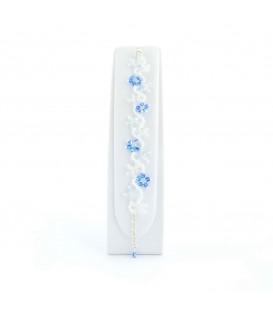 Korálky Janka náramek světle modrobílé květinky