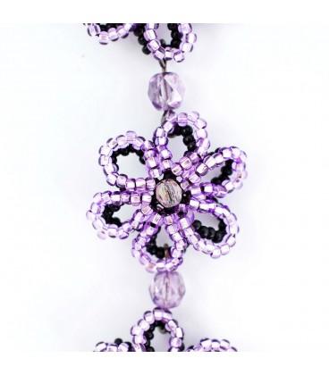 Korálky Janka náramek fialovočerná květina