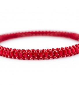 Korálky Janka náramek tmavě červený kruh