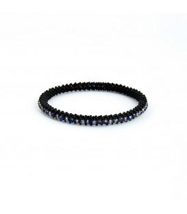 Korálky Janka náramek černý kruh s modrými ohňovkami