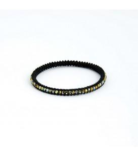 Korálky Janka náramek černý kruh se zlatými ohňovkami