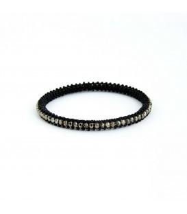 Korálky Janka náramek černý kruh s hnědými ohňovkami