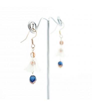 Korálky Janka náušnice modrobílé se zvonečkem