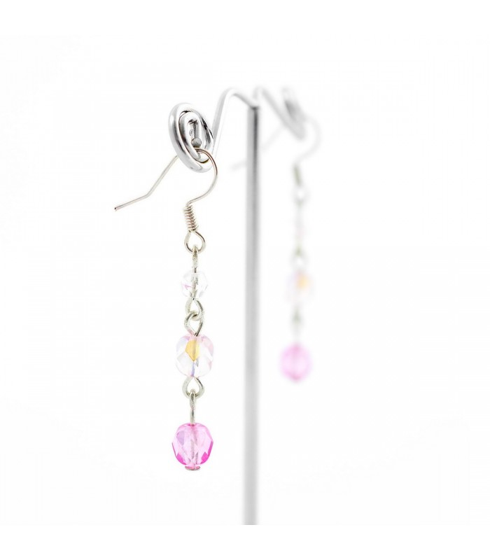 Náušnice Korálky Janka růžovo bílé kuličky NA130, Barva Růžová