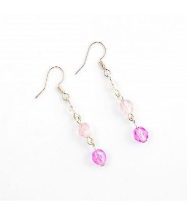 Korálky Janka náušnice růžovobílé se zvonečkem