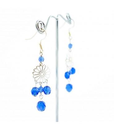 Korálky Janka náušnice stříbrný ornament modré