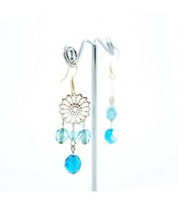 Korálky Janka náušnice stříbrný ornament tyrkysové