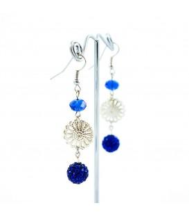 Korálky Janka náušnice stříbrný ornament s kuličkou
